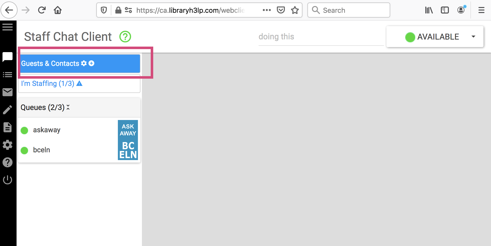 """Image is a screenshot that shows where to click the """"Guests & Contacts"""" tool to return to the main view in the LibraryH3lp webclient."""