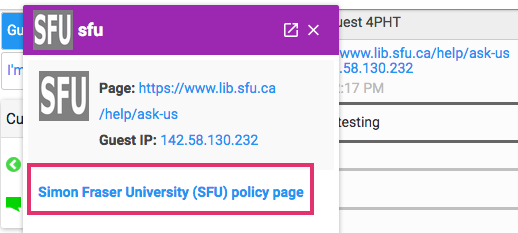 Image shows the LibraryH3lp profile for SFU library, with the name of the library highlighted.